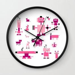 Robots-Pink Wall Clock