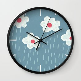 Rainy Flowery Clouds Wall Clock