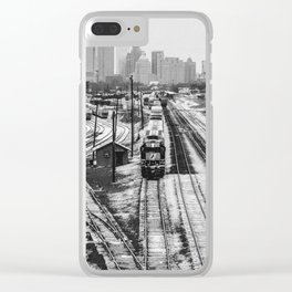 Snow Covered Rail Yard Clear iPhone Case