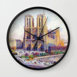 Quai Saint-Michel and Notre-Dame Paris landscape painting by Maximilien Luce Wall Clock