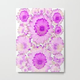 Flowery Magenta and White Metal Print