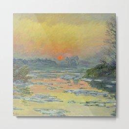 "Claude Monet ""Sunset on the Seine in Winter"" Metal Print"