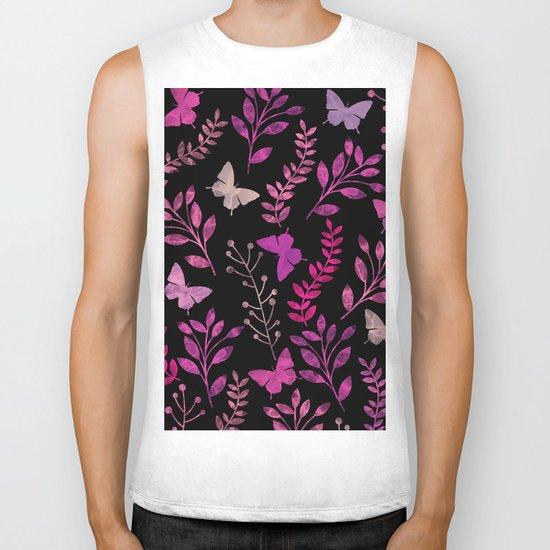 Watercolor flowers & butterflies III Biker Tank