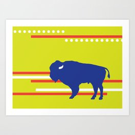 Bison striped Art Print