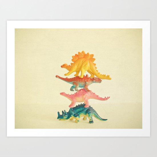 Dinosaur Antics Art Print