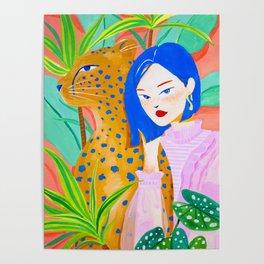 Short Hair Girl and Leopard in Garden Poster