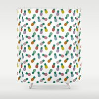 pineapples Shower Curtains featuring Pineapples by icantdance