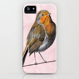 Robin Redbreast, Orange Bird Art iPhone Case