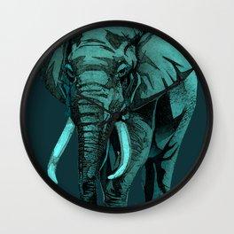 Aqua Elephant Wall Clock