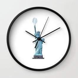Statue of Liberty with Tennis Racquet Wall Clock