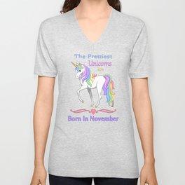 Pretty Rainbow Unicorn Born In November Birthday Girl Unisex V-Neck