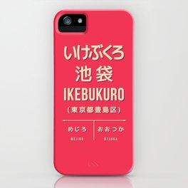 Retro Vintage Japan Train Station Sign - Ikebukuro Tokyo Red iPhone Case