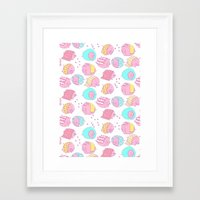blankets Framed Art Prints featuring Pigs in Blankets by stephstilwell