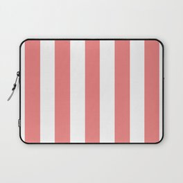 Light coral pink - solid color - white vertical lines pattern Laptop Sleeve