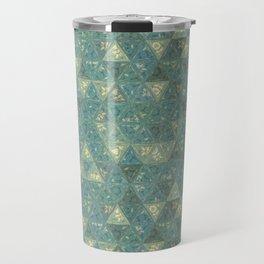 Blue and Beige Triangles Travel Mug