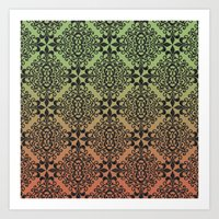 Olive And Copper Ombre Black Damask Art Print