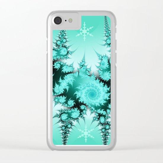 Winter magic in soft blue Clear iPhone Case