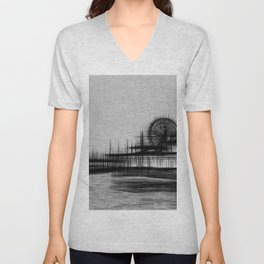 White Noise Santa Monica Pier Unisex V-Neck