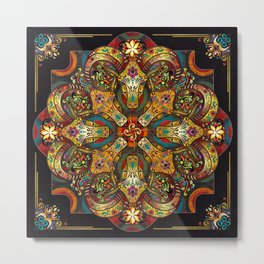 Mandala Sacred Rams - Dark Version Metal Print