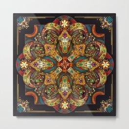 Mandala Sacred Rams - Dark Version Metal Print