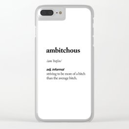 Ambitchous black and white contemporary minimalism typography design home wall decor bedroom Clear iPhone Case