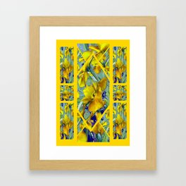 Decorative Collage Mustard Yellow Green-Purple Iris Garden Framed Art Print