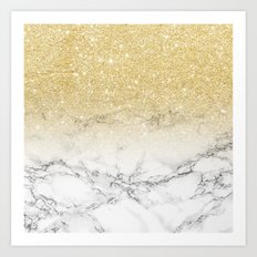 Modern faux gold glitter white marble color block Art Print