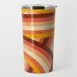 Vintage Orange 70's Style Rainbow Stripes Travel Mug