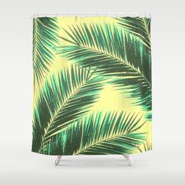 Tropical Palm Leaf Pattern 3 - Tropical Wall Art - Summer Vibes - Modern, Minimal - Green, Beige Shower Curtain