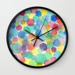 Splash of Life abstract modern acrylic painting colorful polkadots pattern splatter drawing Wall Clock