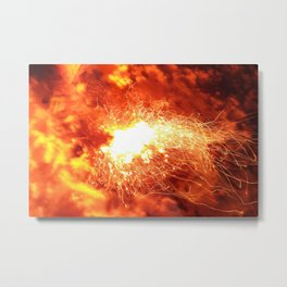 Northern Ligthts - Campfire Metal Print