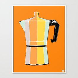 Retro Coffee Pot - Vintage Spring Colors on Morning Sun Background Canvas Print