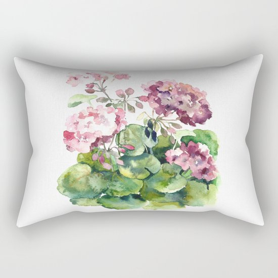 Watercolor pink geranium flowers aquarelle Rectangular Pillow