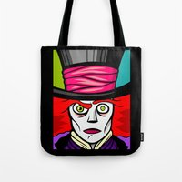 mad hatter Tote Bags featuring Mad Hatter by Artistic Dyslexia