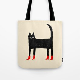 Black Cat in Red Boots Tote Bag