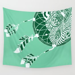 Mint Dreamcatcher Wall Tapestry