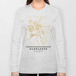MARRAKESH MOROCCO CITY STREET MAP ART Long Sleeve T-shirt