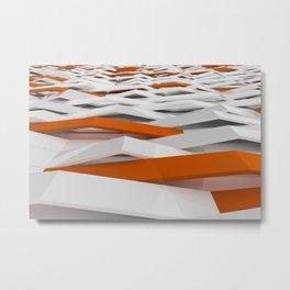 White plastic waves with orange elements Metal Print