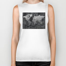 world map mandala black and white 3 Biker Tank