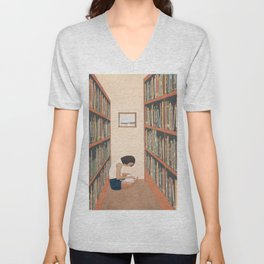Getting Lost in a Book Unisex V-Neck