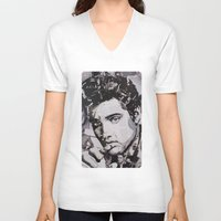 elvis V-neck T-shirts featuring Elvis by Ross Collins Artist