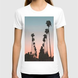 California Sunset // Palm Tree Silhouette Street View Orange and Blue Color Sky Beach Photography T-shirt