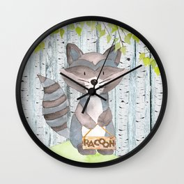 The adorable Racoon- Woodland Friends- Watercolor Illustration Wall Clock