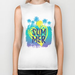 Summer tropical background with palm trees drawn by hand. Biker Tank