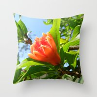 pomegranate Throw Pillows featuring Pomegranate by aeolia