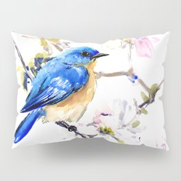 Bluebird and Dogwood, bird and flowers spring colors spring bird songbird design Pillow Sham