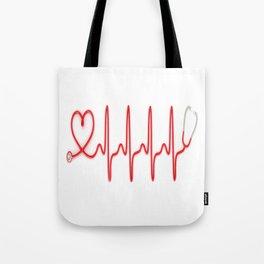 Ekg Heart Stethoscope Tote Bag