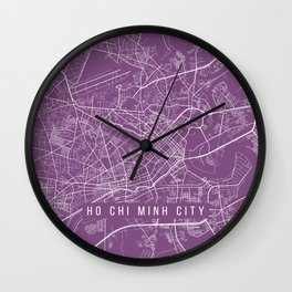 Ho Chi Minh City Map, Vietnam - Purple Wall Clock