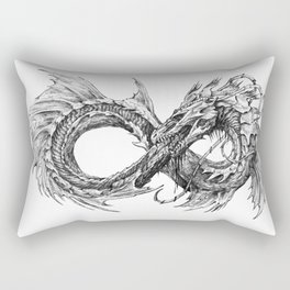 Ouroboros mythical snake on transparent background | Pencil Art, Black and White Rectangular Pillow