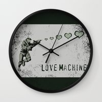 master chief Wall Clocks featuring Love Machine - Master Chief - Halo by Canis Picta